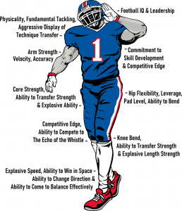 illustration of football player showing all of the attributes My Football Evaluation assesses